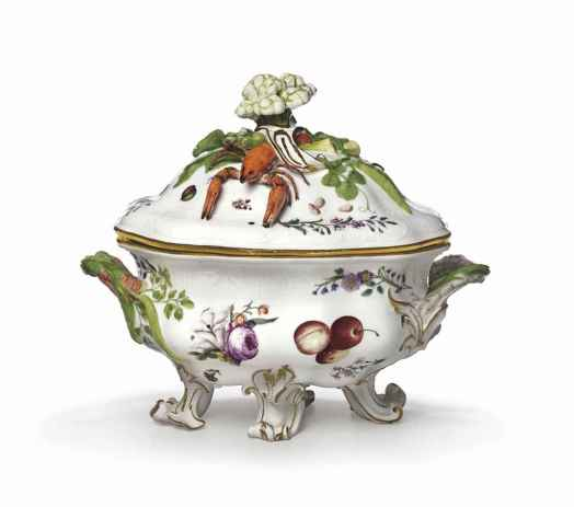 Meissen Porcelain Factory, Germany, founded 1710; Tureen and Stand, from the service for the Marquis Ensenada, c.1746; glazed porcelain with enamel and gilding; 9 13/16 x 20 1/2 x 14 1/2 inches; Saint Louis Art Museum, Richard Brumbaugh Trust in memory of Richard Irving Brumbaugh and Grace Lischer Brumbaugh 163:2011a-c
