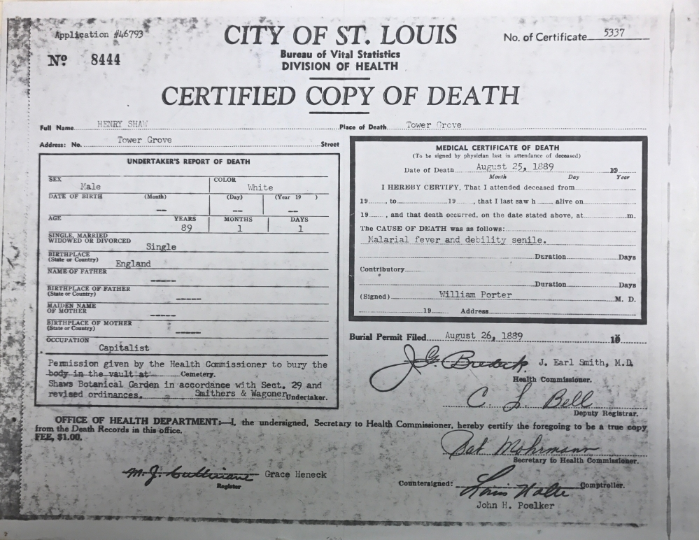Henry Shaw Certificate of Death