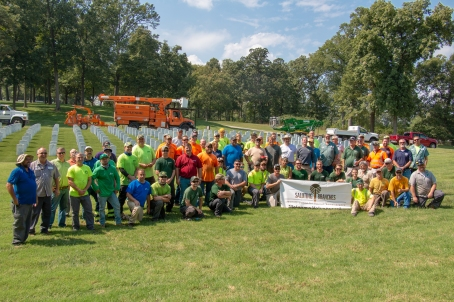 A group photo of the arborists who participated in Saluting Branches at Jefferson Barracks National Cemetery.